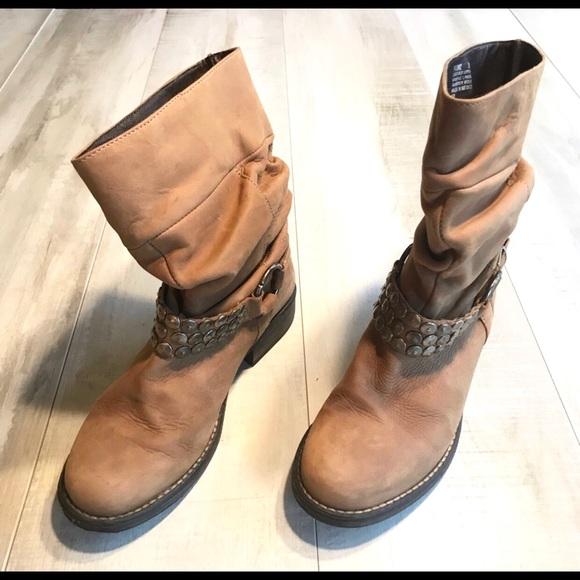 Steve Madden Shoes - Steve Madden Cognac Tan Leather Harness Moto Boots